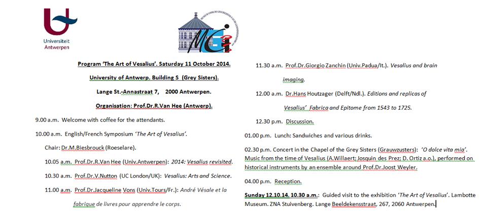 """""""The Art of Vesalius"""", Saturday 11 October 2014, University of Antwerp"""