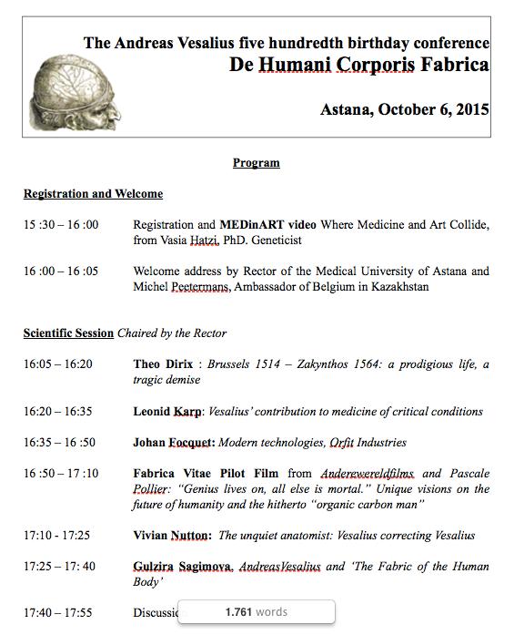 MEDinART in Vesalius event_Embassy of Belgium in Kazakstan: The final program.