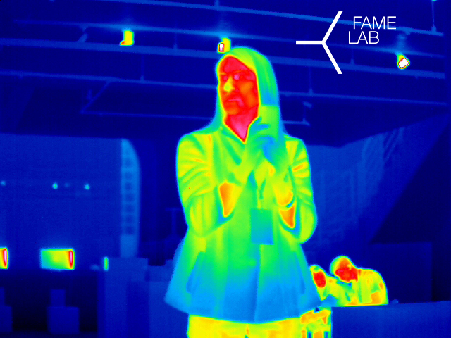 """The interactive part of MEDinART exhibition: """"Visualising body temperature"""". By FAME LAB."""