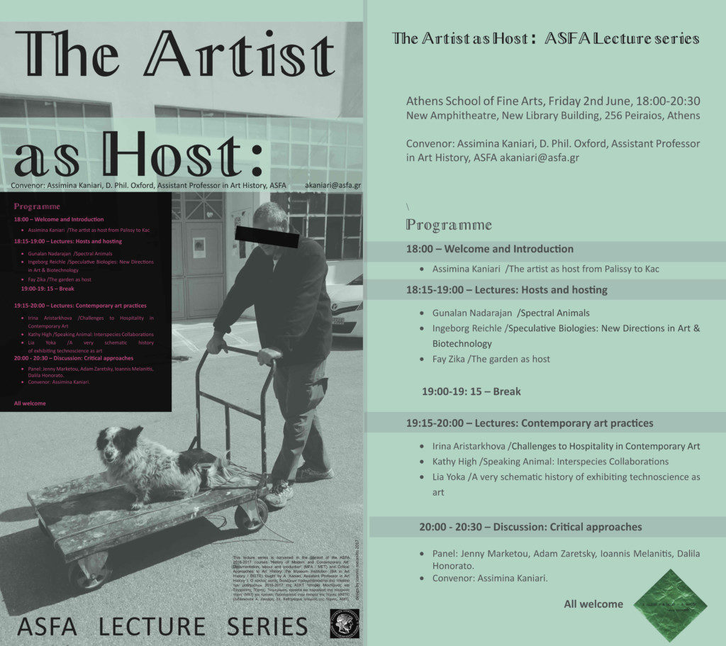 """""""The Artist as Host"""" / Athens School of Fine Arts (ASFA), Greece / Lecture series"""